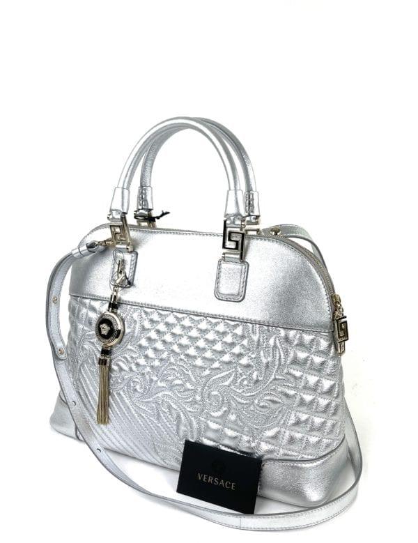 Versace Nappa Leather Athena Barocco Quilted Vanitas Silver Shoulder Bag