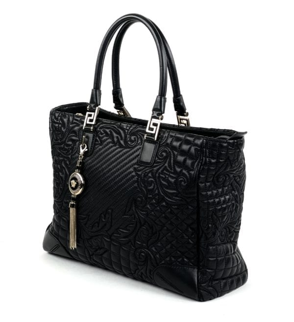 Versace Barocco Quilted Leather Vanitas Tote Black