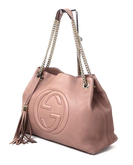 Gucci Soho Medium Leather Shoulder Bag Dusty Rose