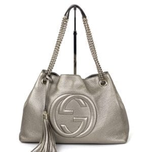 Gucci Soho Medium Leather Shoulder Bag Metallic Gold