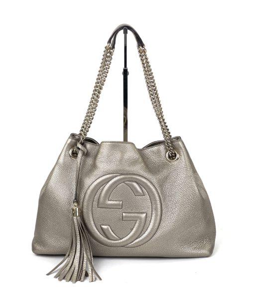 Gucci Soho Medium Leather Shoulder Bag Metallic Gold