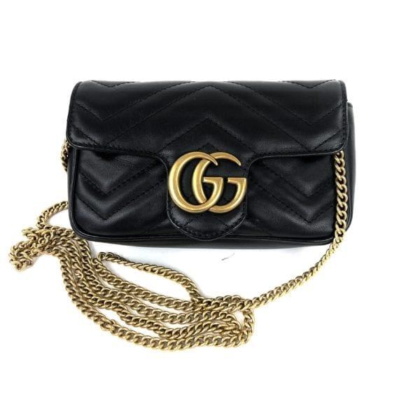Gucci Calfskin Matelasse Mini GG Marmont Chain Crossbody Bag Black