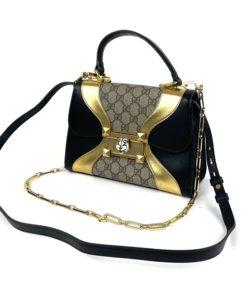 Gucci GG Supreme Monogram Osiride Top Handle Bag Black Gold