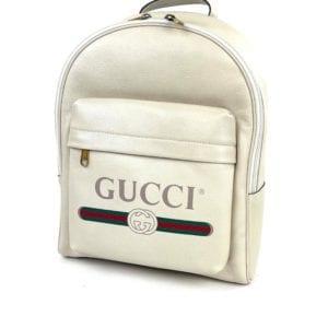 Gucci Calfskin Logo Cream Leather Backpack