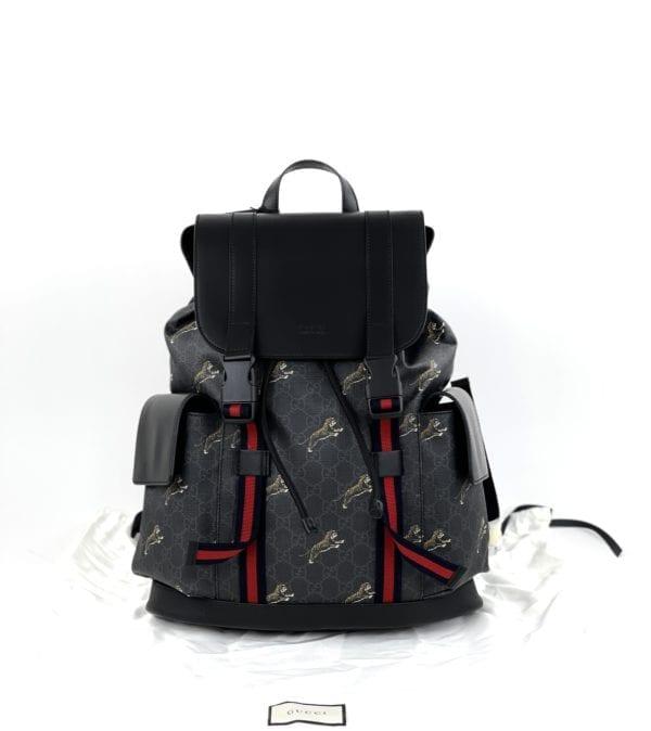 Gucci GG Supreme Tigers Bestiary Backpack Black