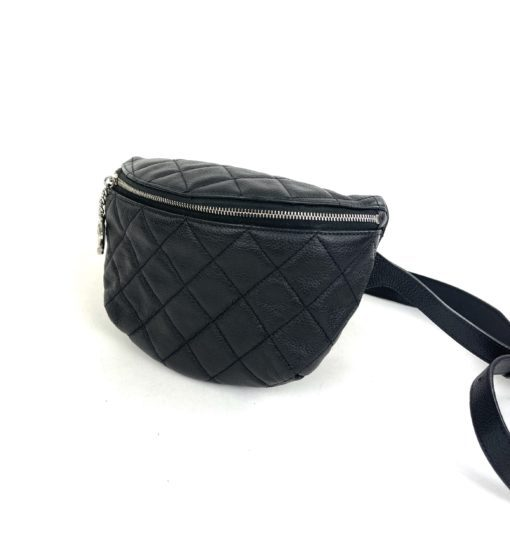Chanel Uniform Black Leather Quilted Waist Belt Bum Bag