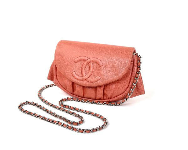 Chanel Caviar Leather Half Moon Wallet On Chain Coral
