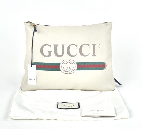 Gucci Pebbled Calfskin Medium Logo Portfolio Clutch White