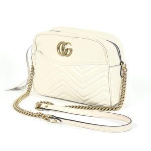Gucci Calfskin Matelasse Large GG Marmont Chain Shoulder Bag Off White