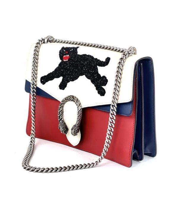 Gucci Calfskin Panther Embroidered Medium Dionysus Shoulder Bag