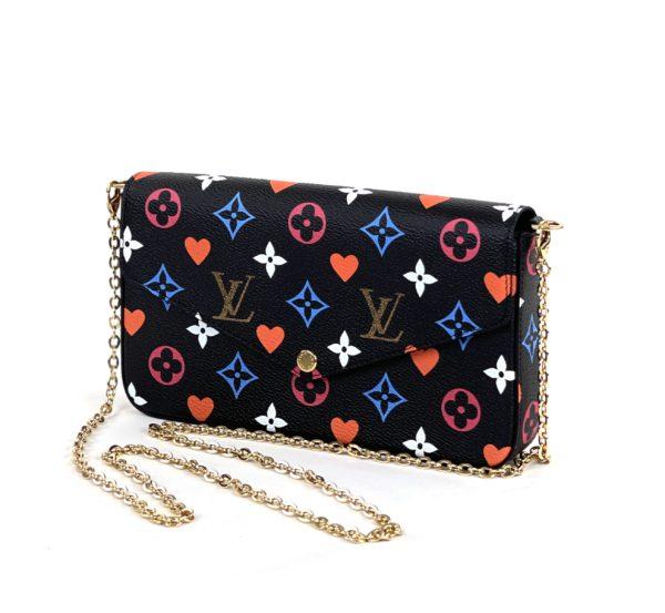 Louis Vuitton Game On Felicie Chain Wallet Black