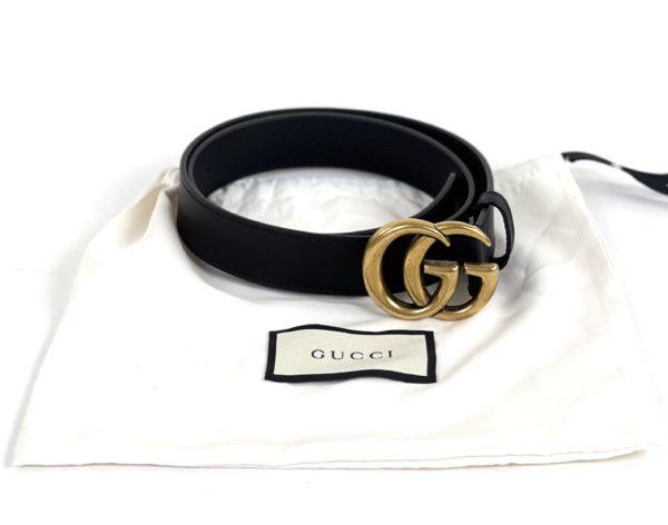 Gucci Black Leather Double G Belt 80/32