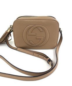 Soho Small Rose Beige Leather Disco Bag front