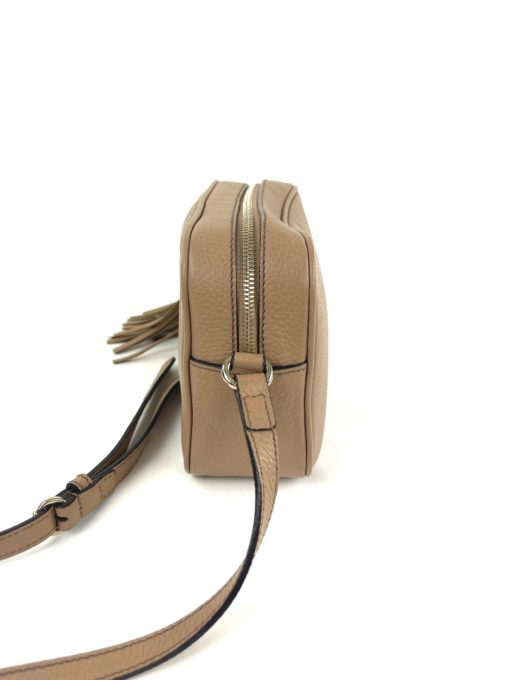 Soho Small Rose Beige Leather Disco Bag side