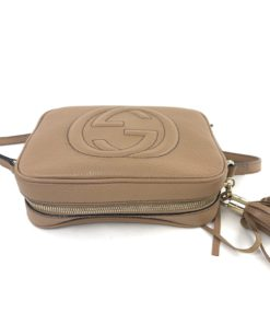 Soho Small Rose Beige Leather Disco Bag top