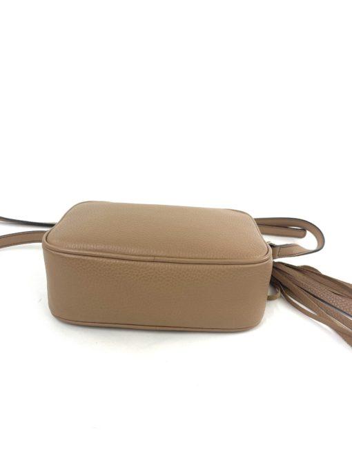 Soho Small Rose Beige Leather Disco Bag bottom