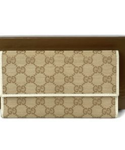 Gucci GG Tan Canvas Flap Wallet With Cream Leather Trim
